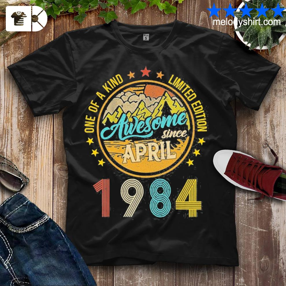 37 years old 37th birthday decoration april 1984 vintage shirt