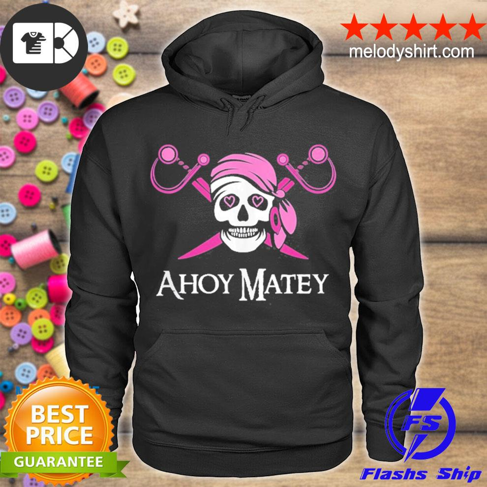 Ahoy matey pink pirate saying skull and crossbones flag s hoodie