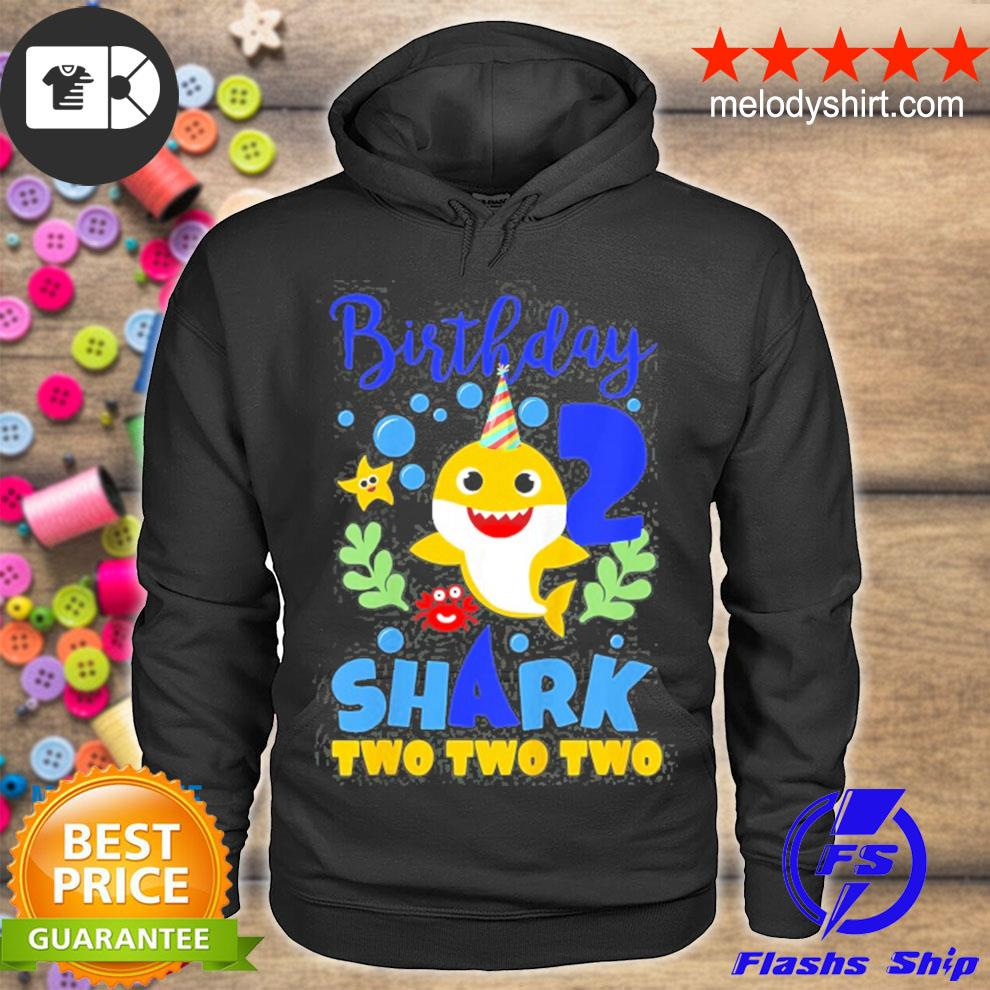 Birthday shark baby for 2 years old boy in blue two two s hoodie