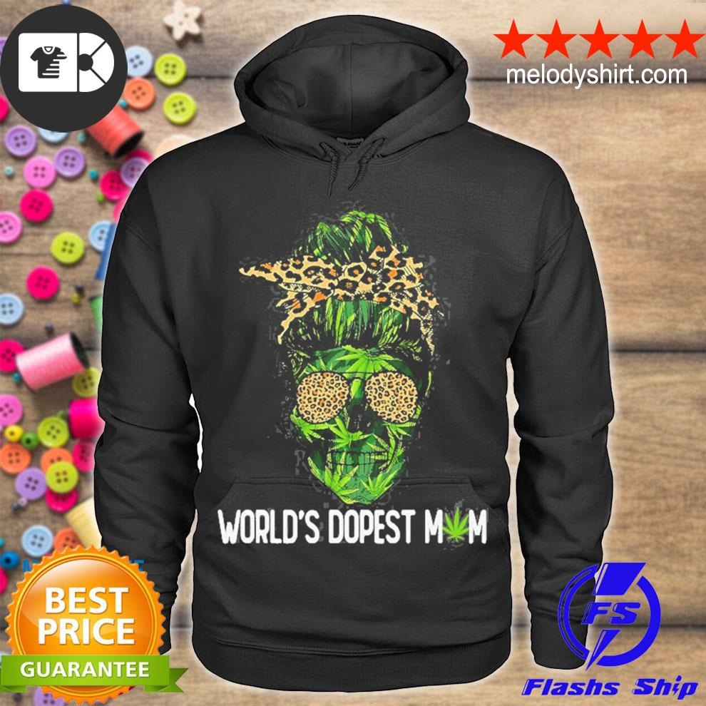 Cute woman world's dopest mom leopard skull lady weed s hoodie