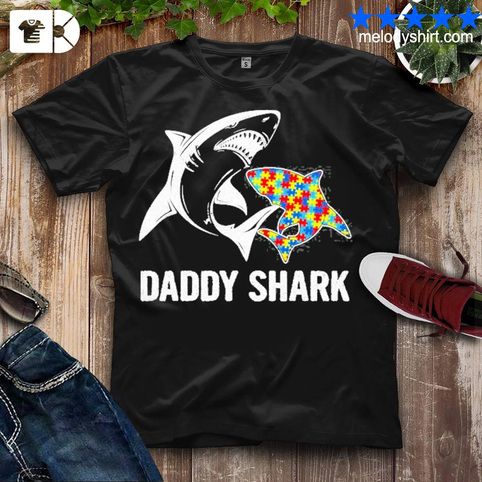 Daddy shark autism awareness father's day gift shirt