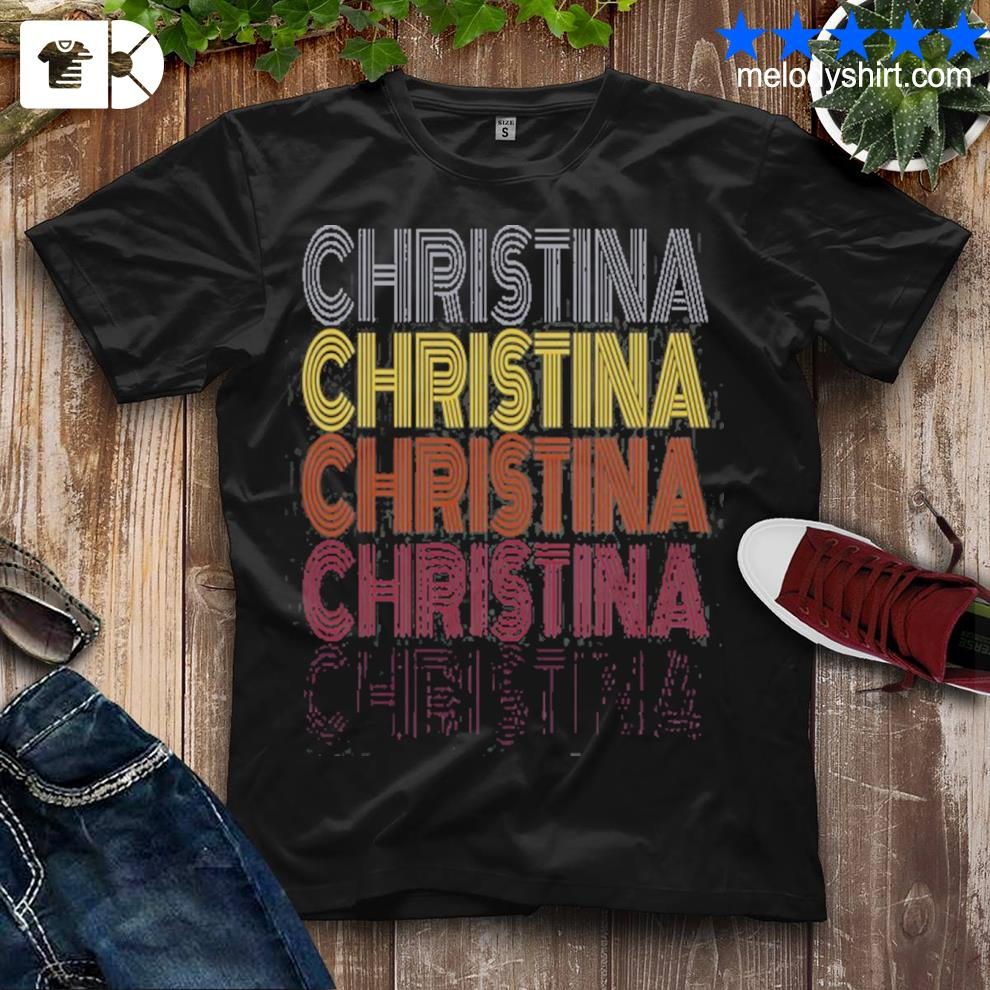 Graphic 365 first name christina retro pattern vintage style shirt