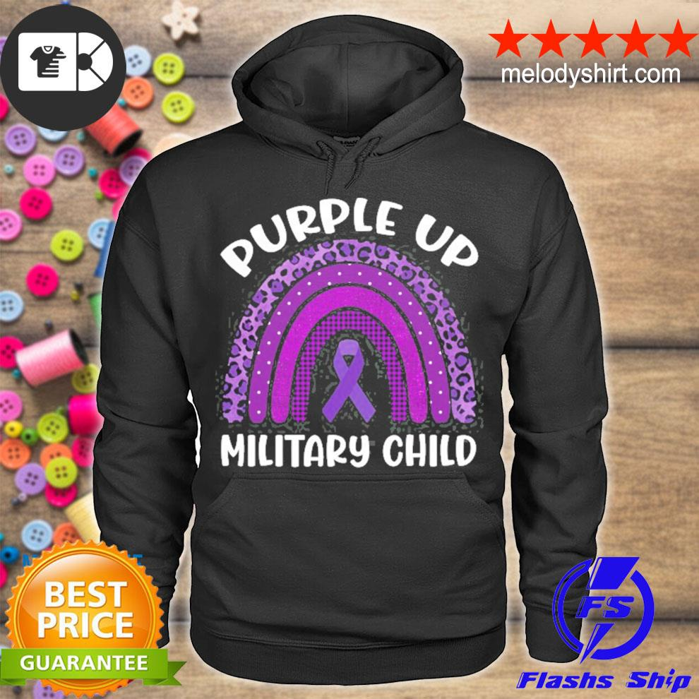 Month of the military child 2021 purple up for military kids purple ribbon rainbow s hoodie