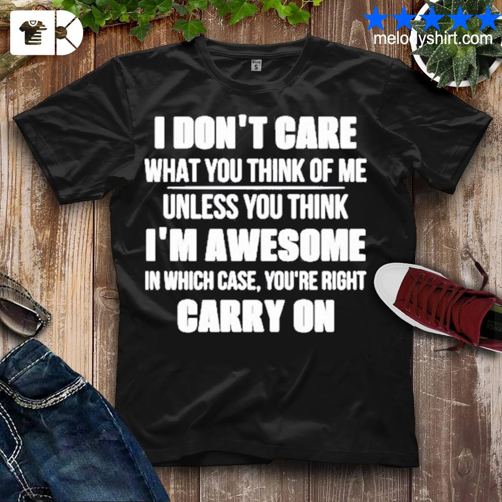 I don't care what you think of me unless you think i_m awesome in which case you're right carry on shirt