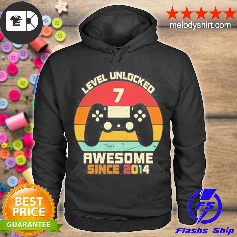 Level unlocked 7 awesome since 2014 vintage retro s hoodie