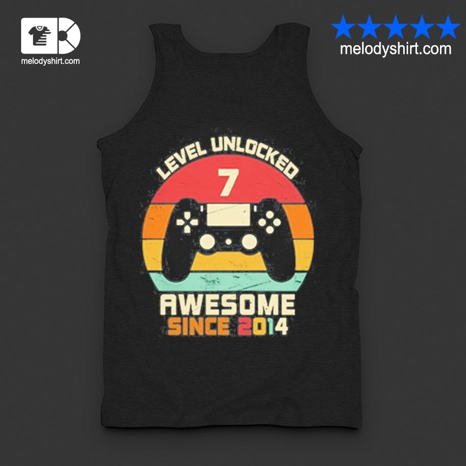 Level unlocked 7 awesome since 2014 vintage retro s tanktop